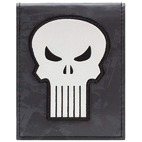Cartera de Marvel Punisher Símbolo Blanco del cráneo Gris
