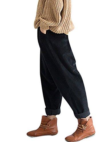Youlee Frauen-elastische Taille Corduroy Hose mit Taschen Schwarz Einheitsgröße
