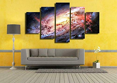 MMSY 5 Panels Outer Space Galaxy Stars Universe Canvas Print Art American Home Decoration American Wall Art Living Room Modern Poster Painting WithFrame Ready to Hang