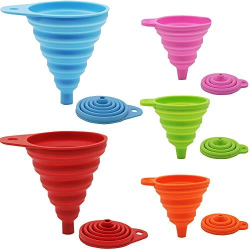 Juego de embudo plegable de silicona, Embalaje plegable flexible de 5 paquetes para la cocina, botella de agua, líquido, grande + pequeño