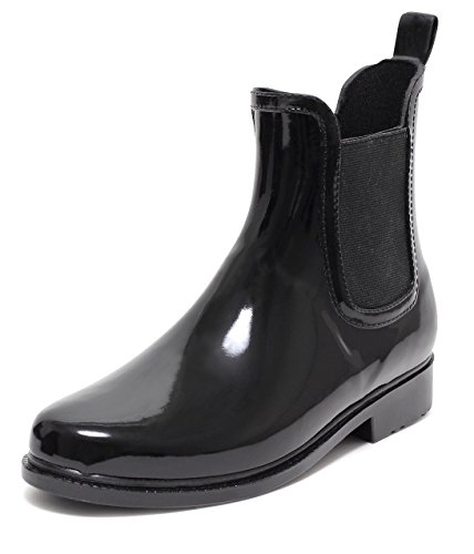 CHELSEA Rain Boot Regenstiefelette Gummistiefelette Regenstiefel Gummistiefel Reitstiefelette Stiefel SCHWARZ Gr.37–40 (39)