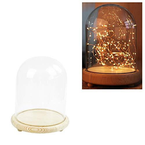 Warmiehomy Deko Glasglocke Kuppel mit Holzsockel (Durchmesser 9 cm, Höhe 15 cm)