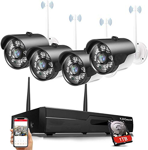 H.264 2MP Wireless Security Cameras System, 4CH 1080P HD NVR 4pcs 1080P Wireless Outdoor Indoor Waterproof Surveillance Cameras 100FT Night Vision...