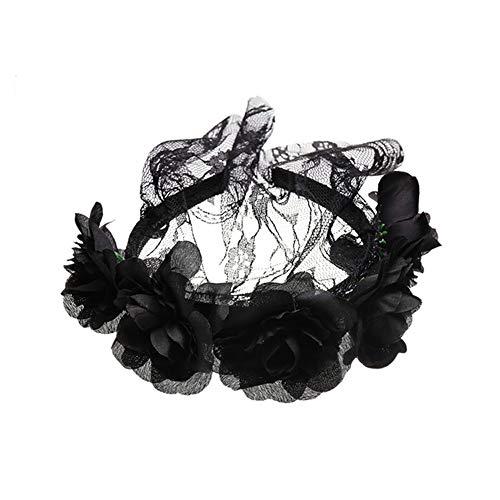 Diadema con velo MSYOU, diseño de rosas, ideal para Halloween, Navidad y fiestas, color negro