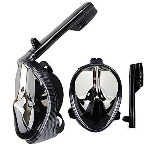 ZBYD Máscara de Buceo de Fibra de Carbono Polarizado Snorkel Full Face Mask Equipo Gafas de natación con Cubierta de la Nariz 424 (Color : Silver Plated, Size : Small/Medium)