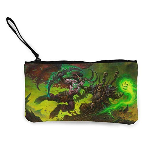 World Gul'Dan Coin Purse for Women Canvas Change Cash Bag with Zipper Small Makeup Bags Cute Jewelry Pouch Key Holder