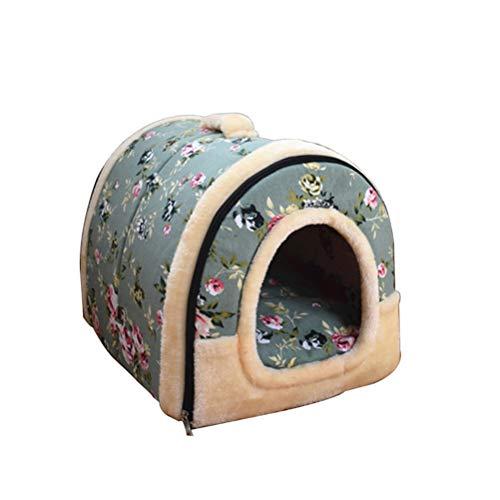 JUZIPS Gezellige 2-in-1 huisdier huis en bank anti-slip hondenhok winter houden warm wasbaar hond bed opvouwbaar zacht warm huisdier nest grot bed huis