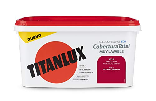 Titanlux - Pintura Plástica Cobertura Total Cubeta 4L  (1010 Rojo Vino)