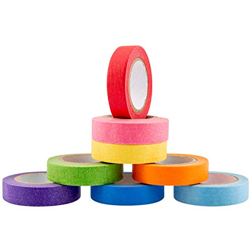 AIEX 8 Rollen Farbiges Klebeband Masking Tape Washi Tape Set, 8 Farben Beschreibbar für Basteln, DIY, Handwerk, Scrapbooking und als Etiketten (15mm Breit)