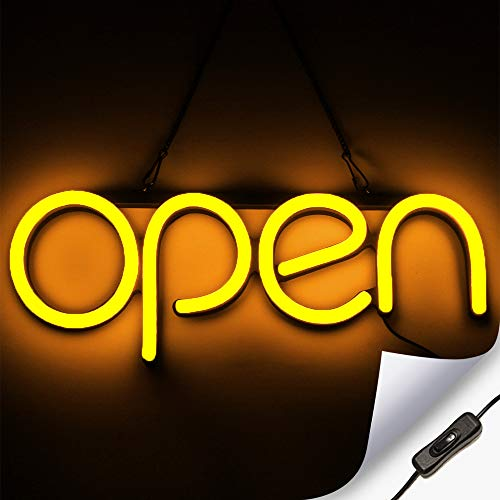 LED Neon Open Sign Light for Business with ON & Off Switch - Lightweight & Energy Efficient for Restaurants Offices Retail Shops Window Storefronts - Orange