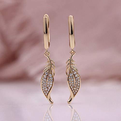 CHQSMZ Earring New Long Leaf Dangle Earrings Natural Zircon Stereoscopic Woman Earring 585 Rose Gold Wedding Luxury Fine Fashion Jewelry