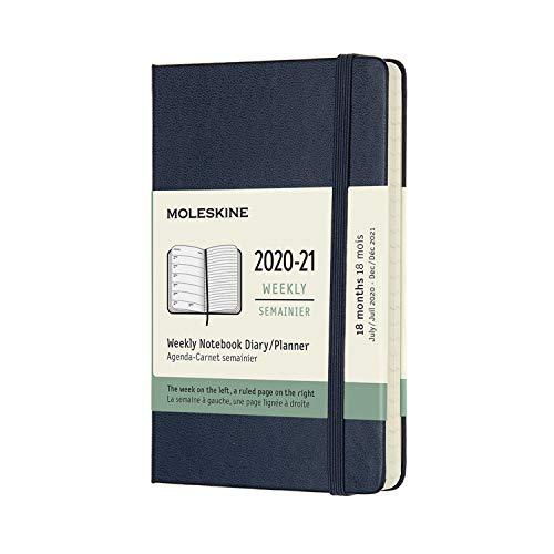 Moleskine Agenda semanal de 18 meses 2020-2021, capa dura, bolso (8,89 cm x 14 cm) azul safira