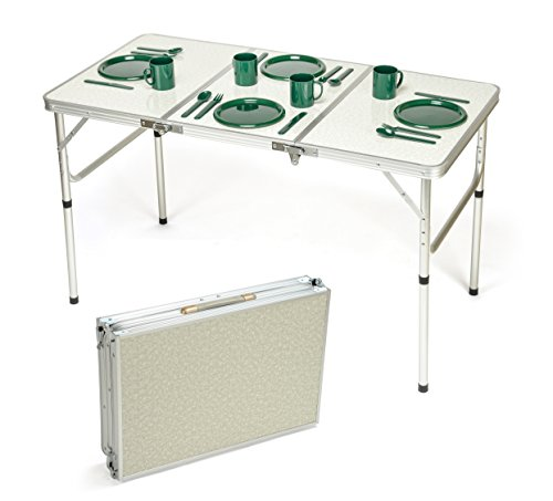Trademark Innovations Portable Adjustable Lightweight Aluminum Folding Table