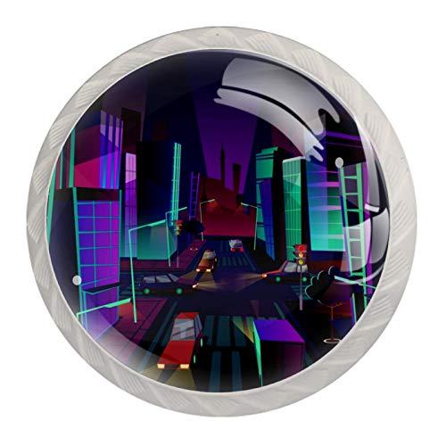 Perillas de gabinete de cocina Perillas decorativas redondas Gabinete Cajones de armario Tirador de tocador 4PCS City Night Purple