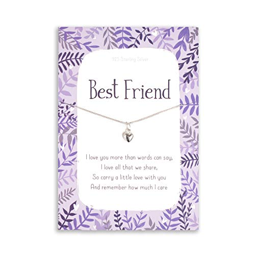 Best friend heart necklace | sterling silver heart charm and chain | sentimental inspirational gift for cheer up women | present birthday or christmas uk | her girls woman
