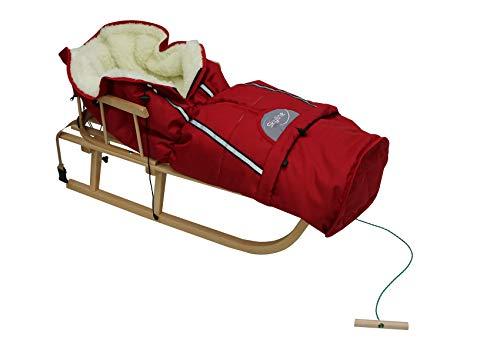 Holzschlitten für Kinder mit Rückenlehne Rodelschlitten Davoser Schlitten aus Holz mit einem Sicherheitsgurt, Rückenlehne, Winterfußsack für Kinder (Rot)