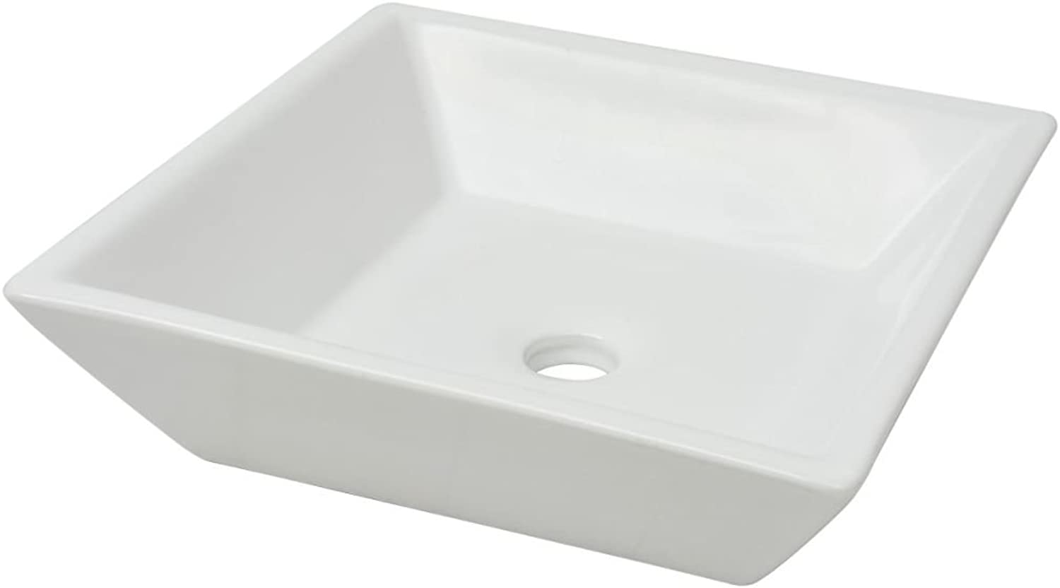Square Ceramic Sink for Interior Bathroom 41.5 x 41.5 x 12 cm White