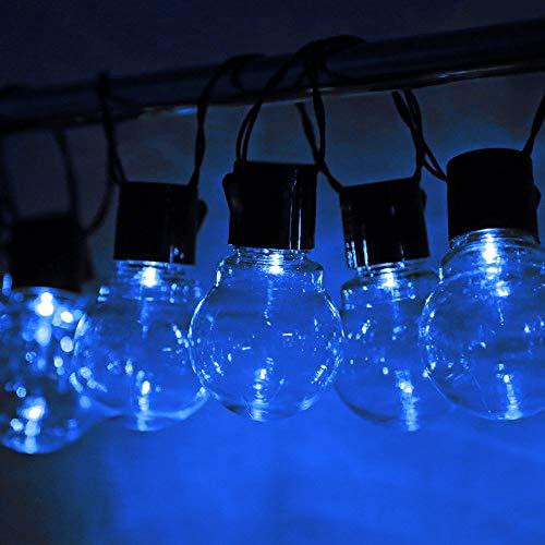 Cadena de luces solares con bombillas transparentes, 8 modos, impermeables, 16 pies/20 LED para interior/exterior, ideal para cafetería, jardín, boda, decoración de fiesta