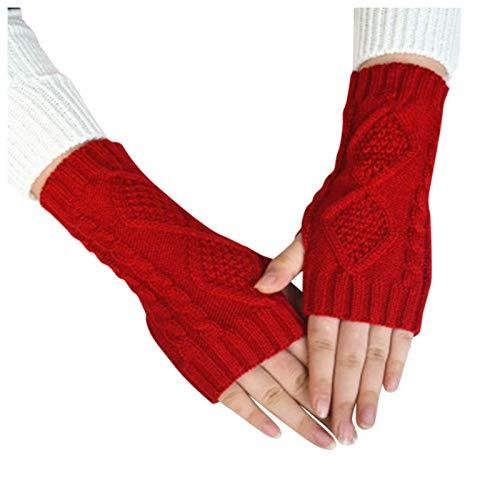 Moent Damen Fahrradhandschuhe aus Wolle, gestrickt, Diamanten, halbe Finger, warme Outdoor-Handschuhe, für Schutz bei kaltem Wetter, Handbekleidung, Thermohandschuhe, Rot, Einheitsgröße