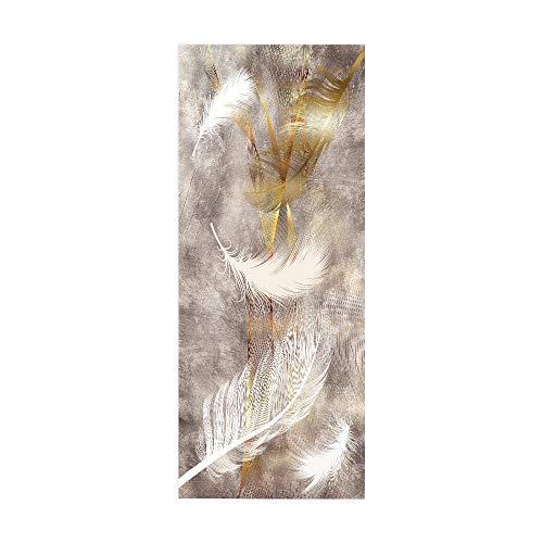 NIASGQW Türposter Selbstklebend 3D, Geeignet für Schlafzimmer, Bad, Wand, Lnnentür, Langlebige, Feuchtigkeitsbeständigkeit und das Leicht zu Reinigen Fototapete -Goldene Feder 77 * 200cm