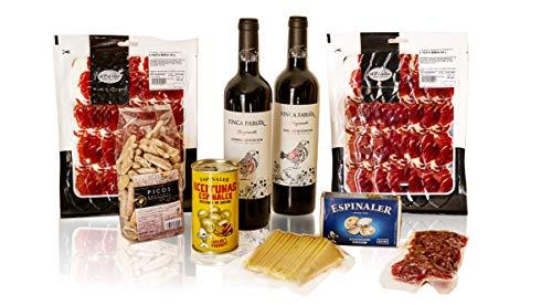 PACKS SNACKS + VINOS (2 botellas de vino, 2 sobres lóncheados paleta ibérica, fuet loncheado, queso manchego loncheado, berberechos, aceitunas rellenas de anchoa y picos rústicos.