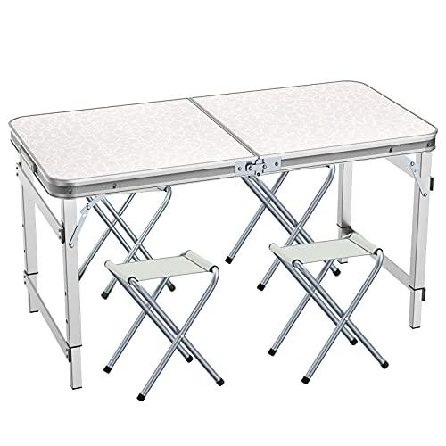 Mesa de Camping Plegable de 120cm, Altura Ajustable, Ultraligera, Durable, para jardín, Fiesta, Barbacoa, Trabajo o...