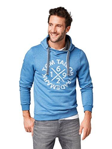 TOM TAILOR Herren Sweathoody mit Kaputze und Druck Sweatshirt, Blau (Midsummer Blue 6069), Medium