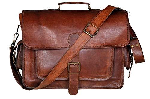 RKH 15 INCH Vintage Men's & Women Brown Handmade Leather Briefcase Best Laptop Messenger Bag Satchel (16 inch)