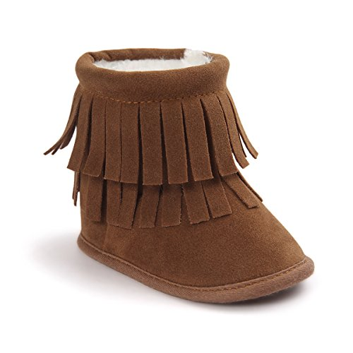 Kuner Infant Baby Boys Girls Tassel Plush Non-Slip Prewalker Toddler Outdoor Warm Snow Boots (12cm(6-12months), Brown)