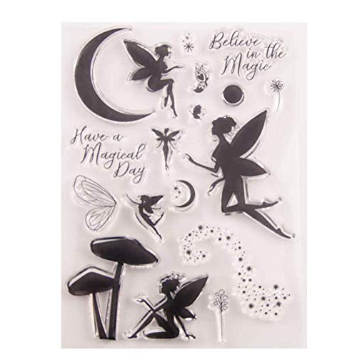 Welcome to Joyful Home 1pc Fairy Moon Rubber Clear Stamp for Card Making Decoration and Scrapbooking