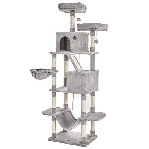 FEANDREA Cat Tree, XL Cat Tower, 81.1-Inch Tall Cat Condo with Hammock, Basket, Scratching Posts, 2...