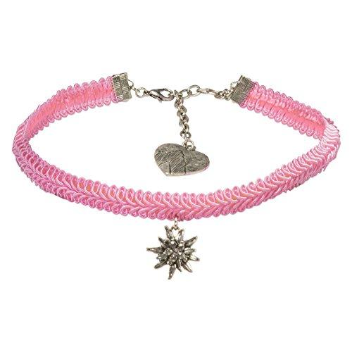 Alpenflüstern Trachten-Borten-Kropfband Strass-Edelweiss - nostalgische Trachtenkette enganliegend, Elegante Kropfkette, Damen-Trachtenschmuck rosé-rosa DHK192