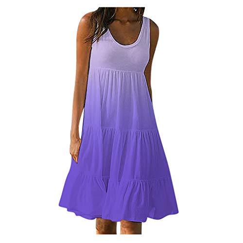 Sleeveless Dress for Women Summer Plus Size Pure Ruffle Shift Plus Size Dress S-5XL (XXL, Purple-Gradient)