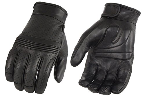 Milwaukee Leather MG7516 Men's 'iTouch Screen Fingers' Black Premium Perforated Leather Gloves with Flex Knuckles - Large