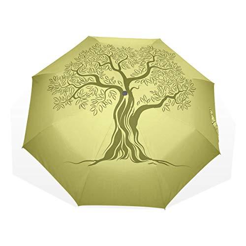 LASINSU Regenschirm,Mittelmeerolivenbaum Schattenbild mit Ornamentrahmen Natur Inspirationen,Faltbar Kompakt Sonnenschirm UV Schutz Winddicht Regenschirm