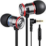 Betron MK23Mic Earbuds with Microphone, Noise Isolating Earphone, Flat Cable, Replaceable Earbuds, in Ear Headphones for iPhone, iPad, MP3 Players, Samsung, Android Devices and More