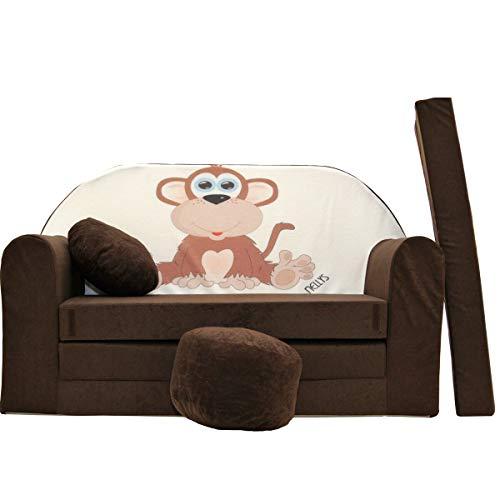 millybo Kindersofa Couch Kindercouch Spielsofa 3in1 Kinder Sofa Minisofa braun (MI-K2)