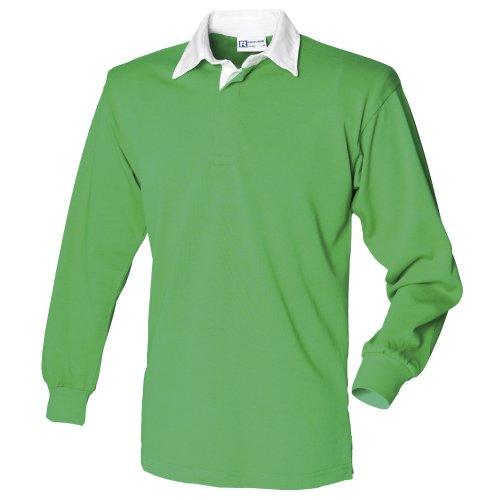 Front Row Long Sleeve Plain Rugby Shirt Bright Green/White L