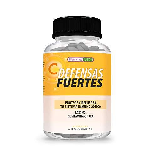 DEFENSAS FUERTES - Vitamina C Pura 1.585mg Para Proteger y Reforzar el Sistema Inmunológico | Activa Tus Defensas| Protege Las Células del Daño Oxidativo | Acción Preventiva | 60 cápsulas