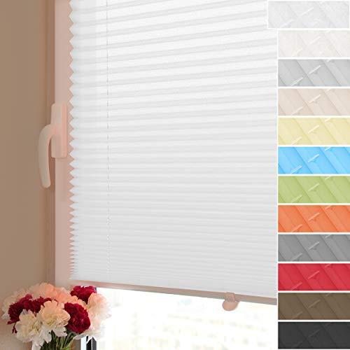 HOMEDEMO Plissee Klemmfix ohne Bohren Jalousien Rollo (Weiß, 105x130cm) Plisseerollo mit Klemmfixträger, Faltrollo Sicht und Sonnenschutz für Fenster & Tür