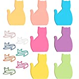 7 Packs Cat Sticky Notes Cat Shaped Sticky Notes Self-Stick Memo Note Pads and 10 Pieces Cat Paper Clips Cat Animal Shaped Paper Clips for Kids, Women, Girls, School Office Supplies