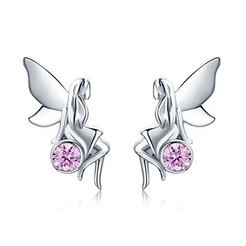 NEWL Pendientes de tuerca de plata de ley 925 con diseño de hada rosa con circonita cúbica para mujer, regalo de joyería