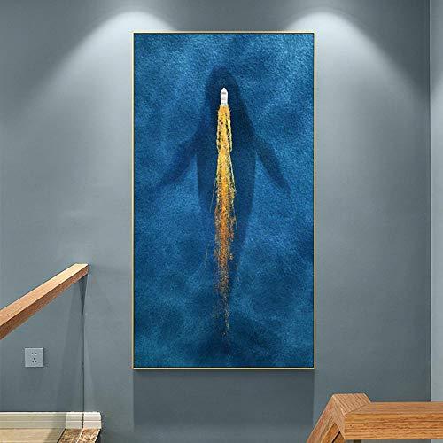 Nórdico azul abstracto mármol lámina de oro arte lancha rápida barco ballena mar hermoso paisaje pintura sala de estar porche sofá fondo 50x100cm sin marco