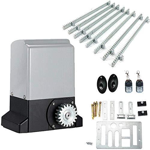 TABODD 370W Automatischer Schiebetoröffner, Elektrischer Schiebetorantrieb mit Infrarot-Sensor Hardware-Sicherheitsset für die Schiebefahrt mit Fernbedienung und Zahnstange