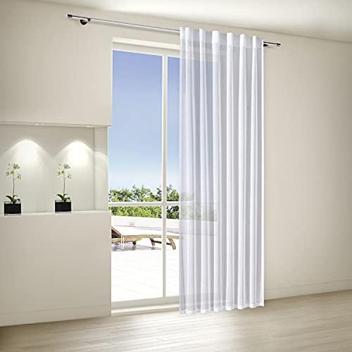 Bonilo Fertig Vorhang 140x245cm | h.transparent Naturweiss | Wellenband & Stangendurchzug | Schal