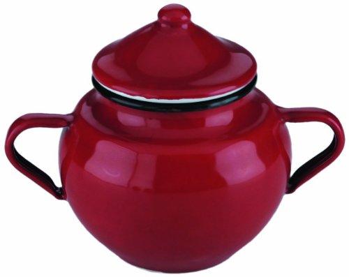 IBILI 910650 - Zuccheriera con Coperchio, in Acciaio smaltato, Colore: Rosso