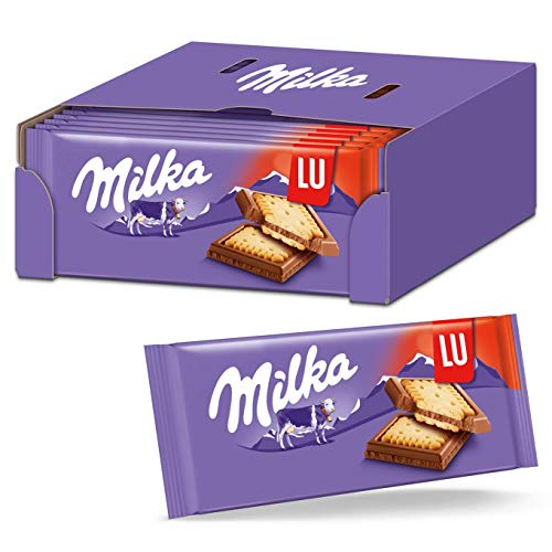 Milka & LU Kekse 18 x 87g, Zartschmelzende Alpenmilch Schokoladentafel mit LU Keksen