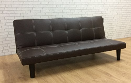 Comfy Living Single Faux Leather Sofa Bed in Dark Brown- Spencer Sofabed