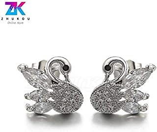 3pairs Elegant Simplicity Peacock Stud Earrings with Natural Pearl Fashion Jewelry Earring Piercing, Model: VE38 - (Metal Color: Rhodium Plated)