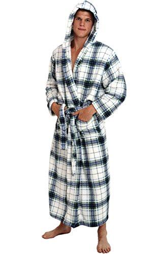 Alexander Del Rossa Men's Warm Fleece Robe with Hood, Big and Tall Bathrobe, 1XL 2XL Blue on White Plaid (A0125P062X)
